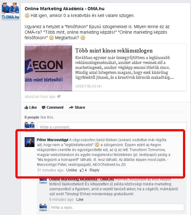 Az AEGON eset az OMA Facebook oldalán