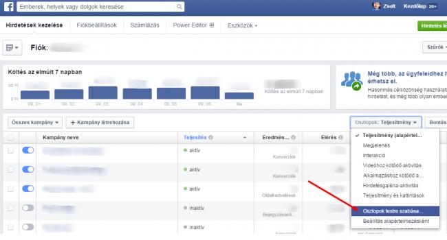 A Facebook attribúciós ablakának módosítása 1.